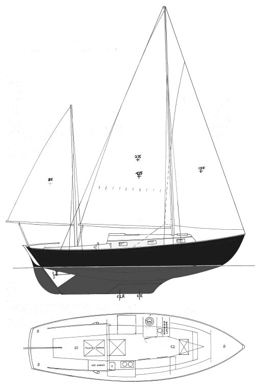 Dickerson 32 (1959) drawing on sailboatdata.com