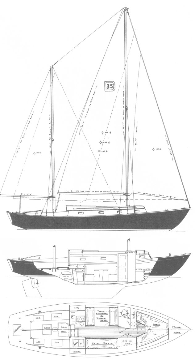 Dickerson 35 drawing on sailboatdata.com