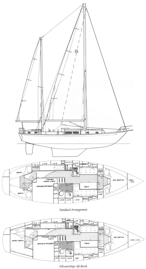Dickerson 37 CC drawing on sailboatdata.com
