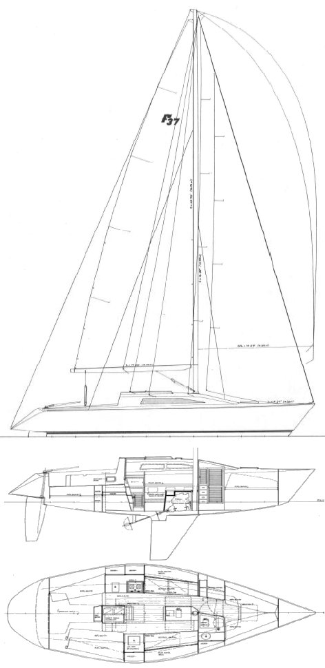 Dickerson 37 (Farr) drawing on sailboatdata.com