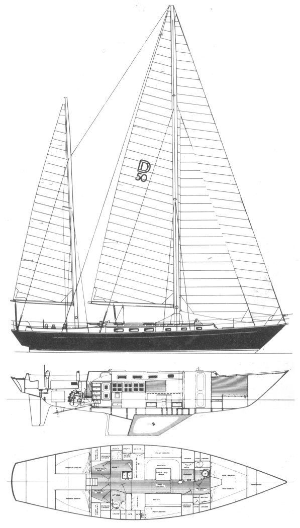 Dickerson 50 drawing on sailboatdata.com