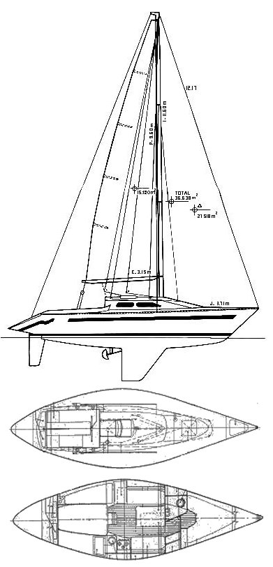 Dione 98 drawing on sailboatdata.com
