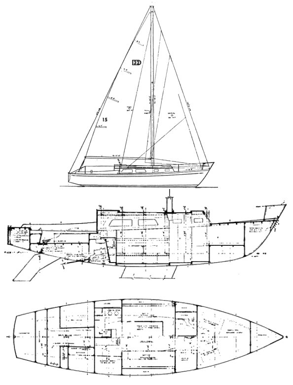 Discovery 32 (Hatfield) drawing on sailboatdata.com