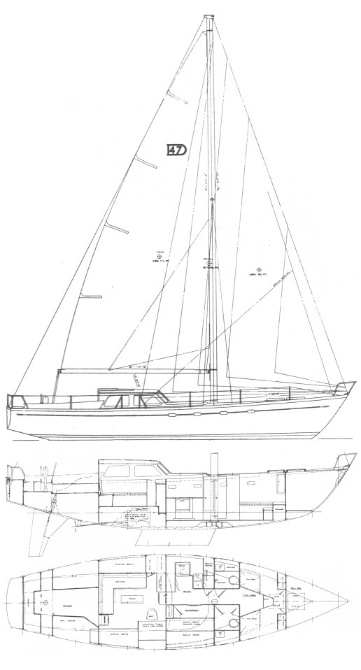 Discovery 47 drawing on sailboatdata.com