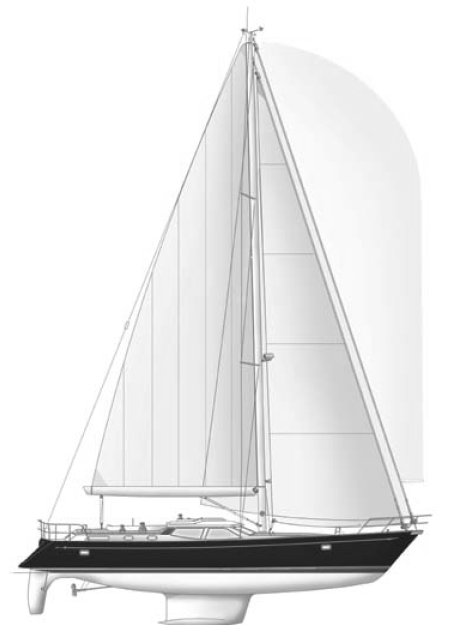 Discovery 55 drawing on sailboatdata.com