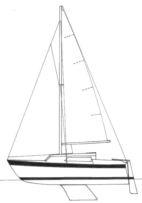 Djinn 22 drawing on sailboatdata.com