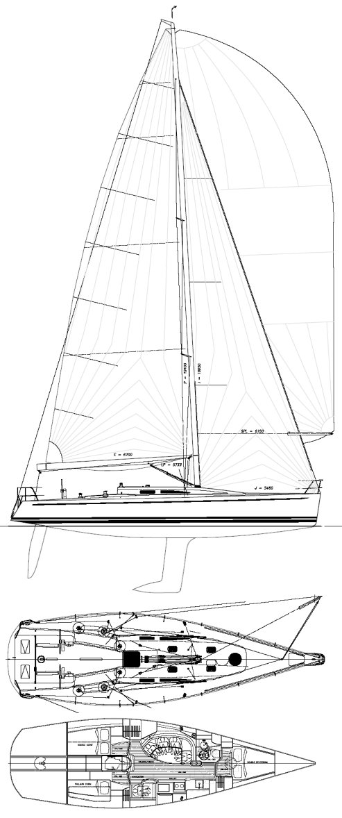 DK 46 drawing on sailboatdata.com
