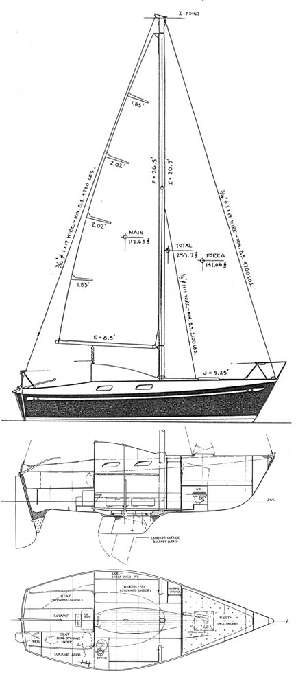 D&M 22 drawing on sailboatdata.com