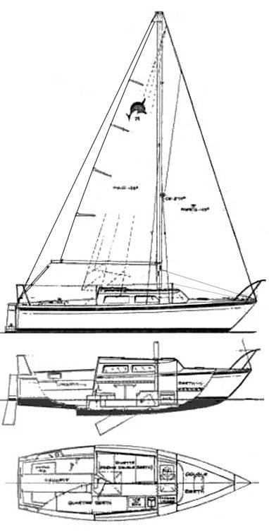Dolphin 25 (Helms) drawing on sailboatdata.com