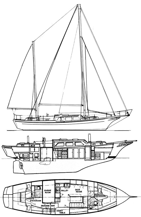Dolphin 47 (Alden) drawing on sailboatdata.com