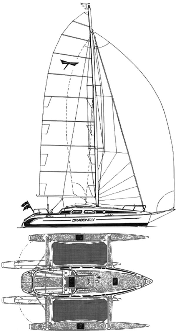 Dragonfly 920 drawing on sailboatdata.com