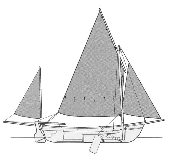 Drascombe Dabber drawing on sailboatdata.com
