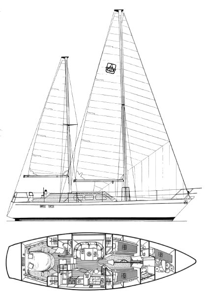 Dufour 12000 CT drawing on sailboatdata.com
