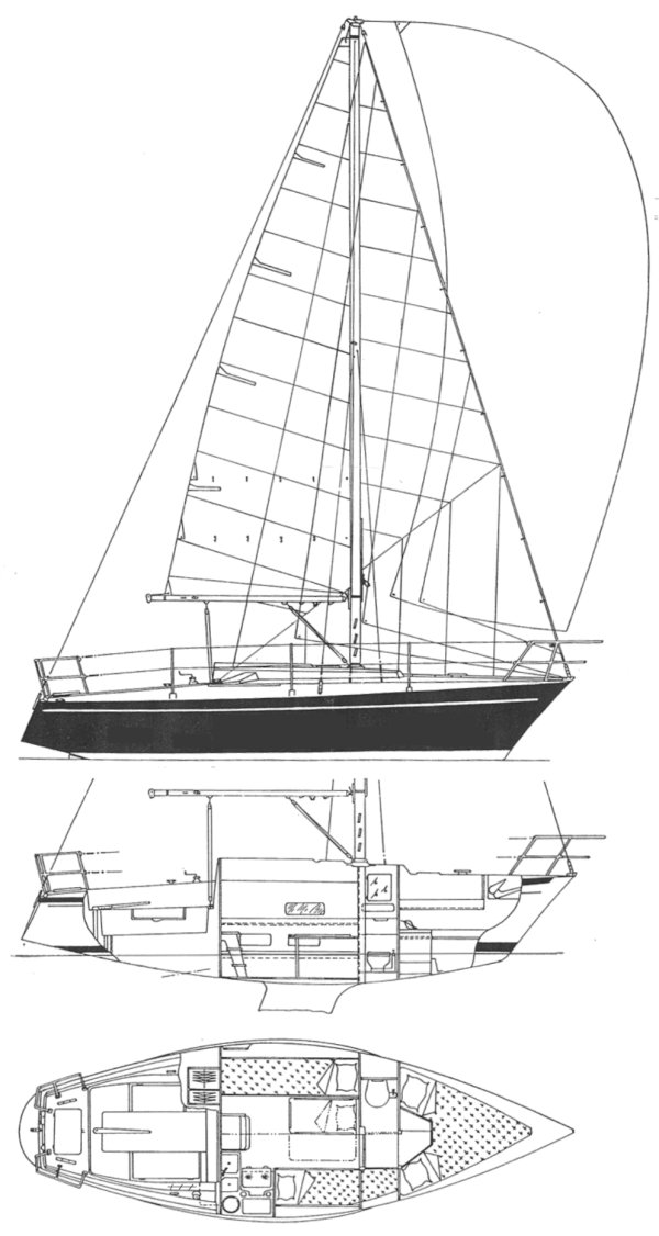 Dufour 27 drawing on sailboatdata.com