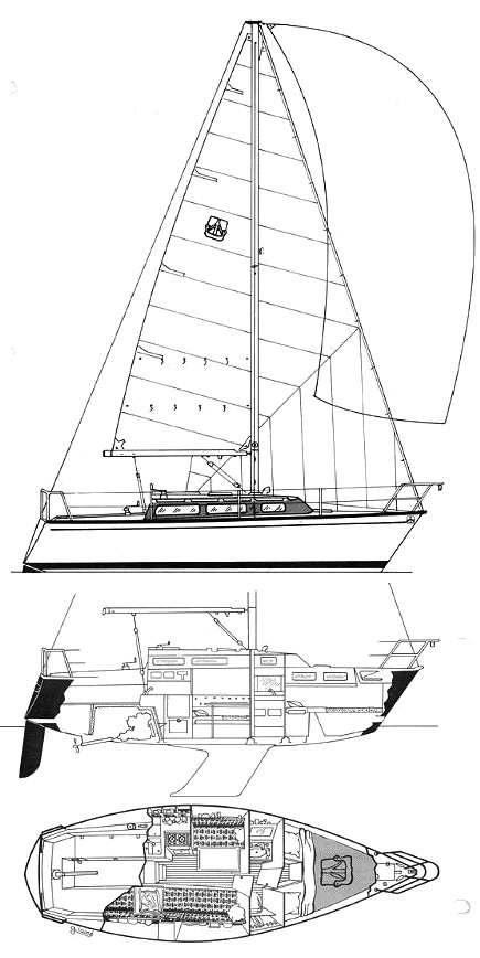 Dufour 2800 drawing on sailboatdata.com