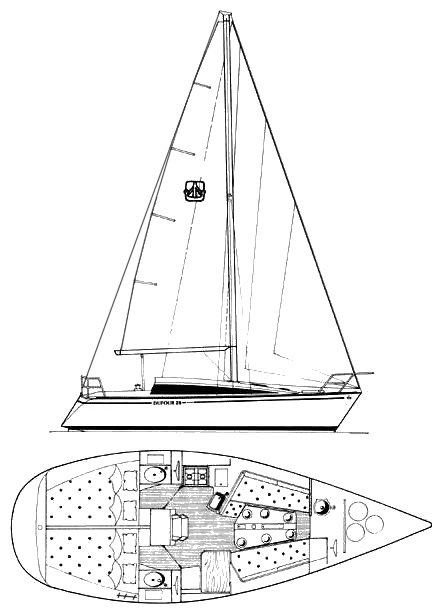 Dufour 28 drawing on sailboatdata.com