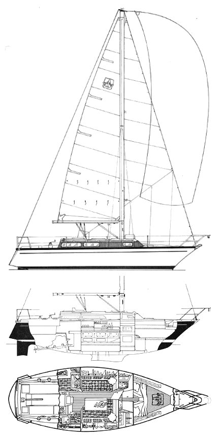 Dufour 31 drawing on sailboatdata.com