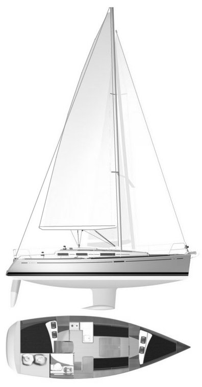 Dufour 325 drawing on sailboatdata.com