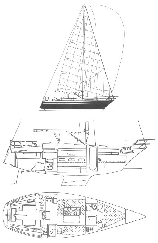 Dufour 34 drawing on sailboatdata.com