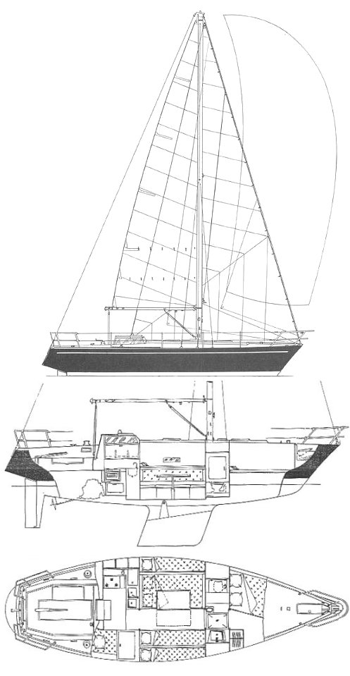 Dufour 35 drawing on sailboatdata.com