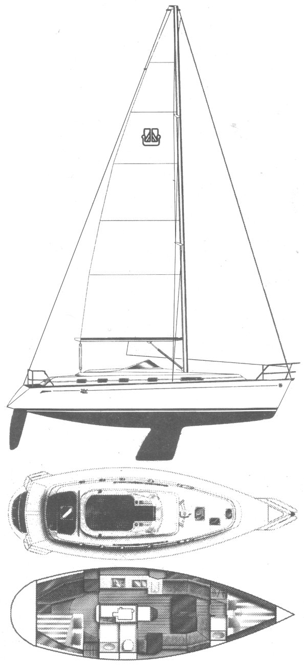 Dufour 39 CC drawing on sailboatdata.com