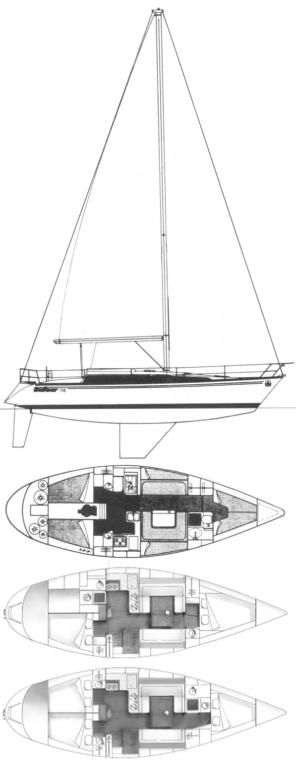 Dufour 39 (Frers) drawing on sailboatdata.com