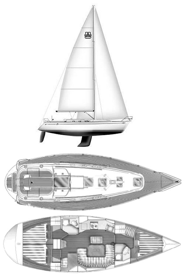 Dufour 41 Classic drawing on sailboatdata.com
