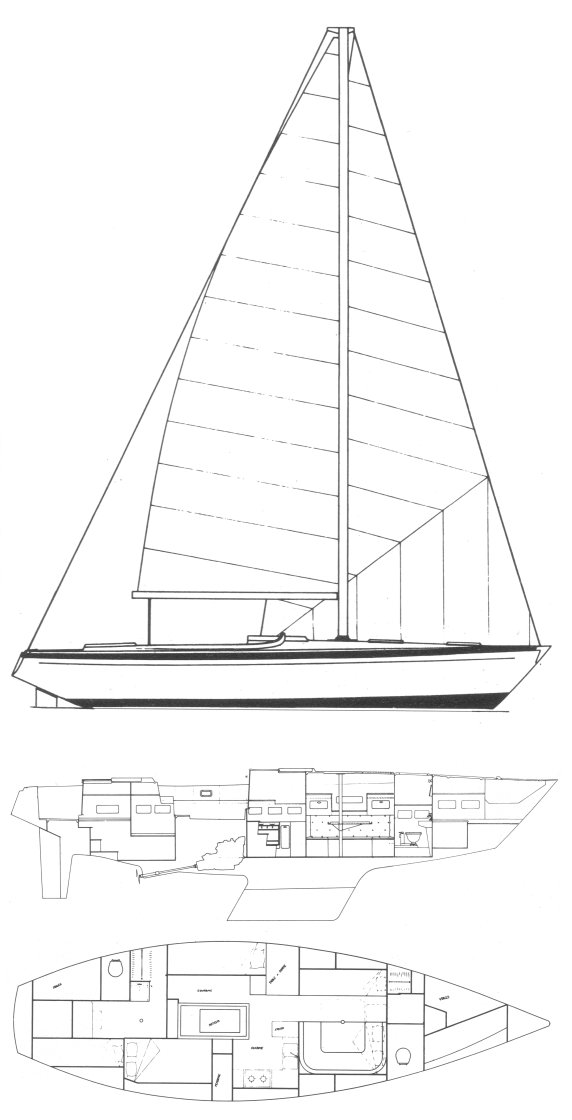 Dufour 41 drawing on sailboatdata.com