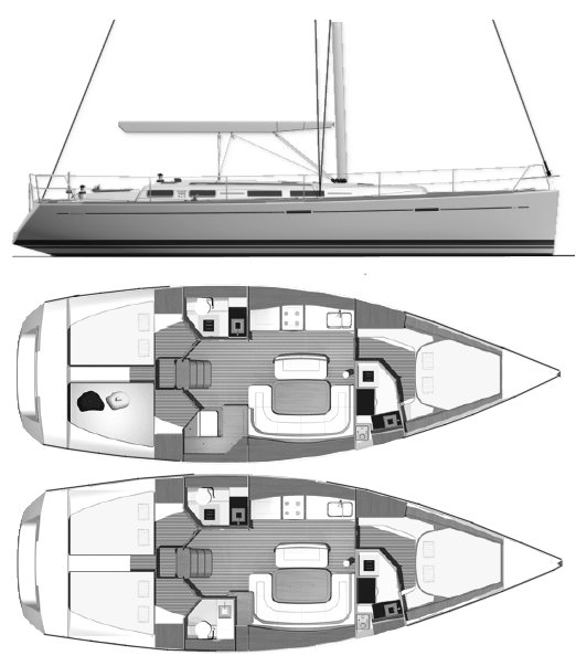 Dufour 425 drawing on sailboatdata.com