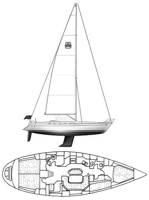 Dufour Classic 45 drawing on sailboatdata.com