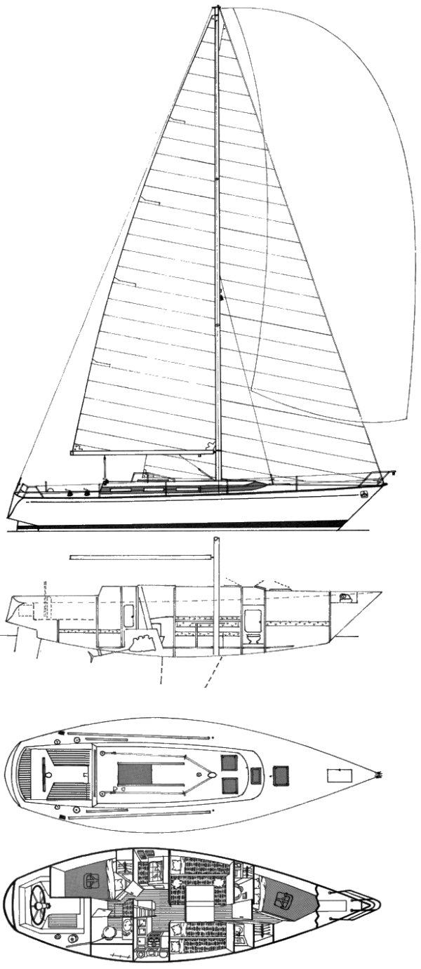 Dufour 9000 drawing on sailboatdata.com