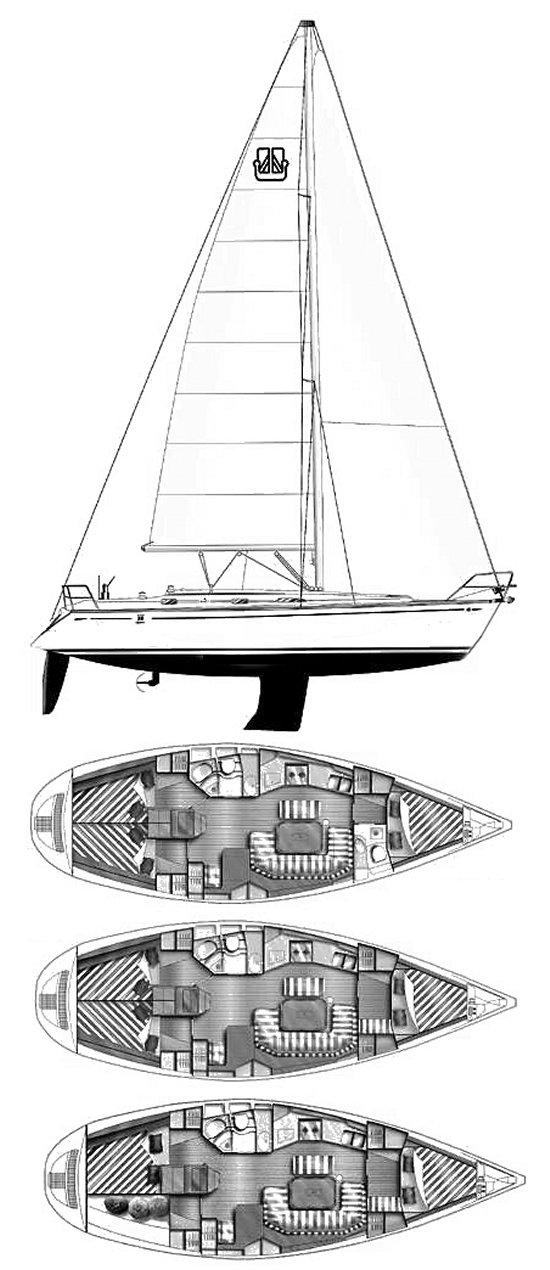 Dufour Classic 38 drawing on sailboatdata.com