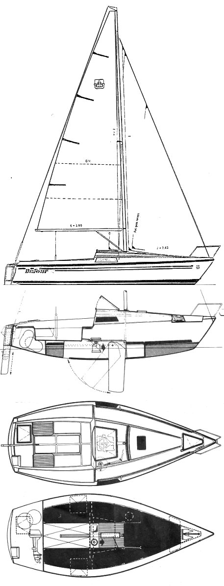 Dufour T6 drawing on sailboatdata.com