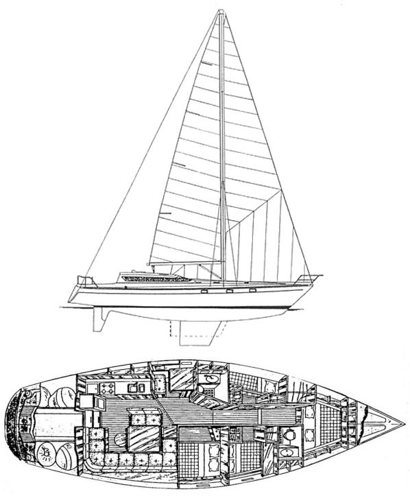 Dynamique 52 drawing on sailboatdata.com
