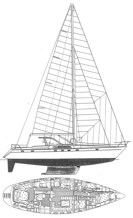 Dynamique 58 drawing on sailboatdata.com