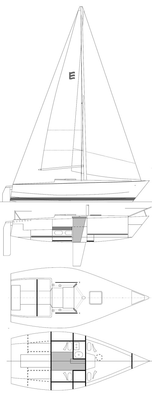 E Boat drawing on sailboatdata.com