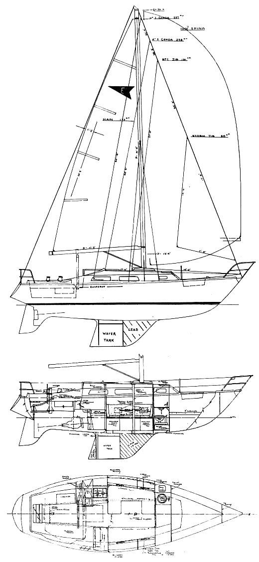 Easterly 30 (Smith) drawing on sailboatdata.com