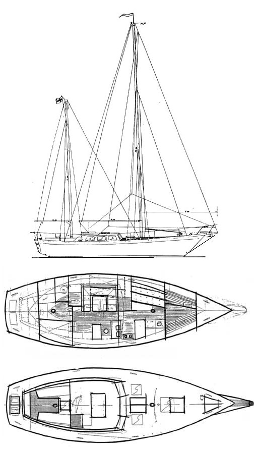 Eastwind 44 drawing on sailboatdata.com