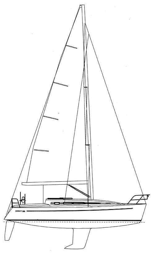 Elan 333 drawing on sailboatdata.com