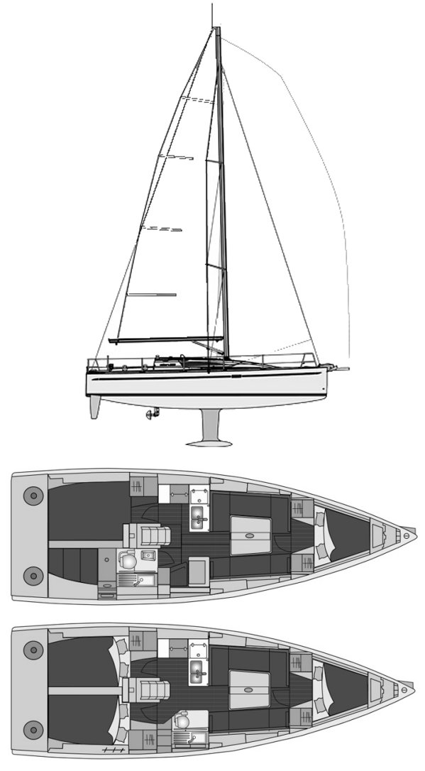 Elan 350 drawing on sailboatdata.com