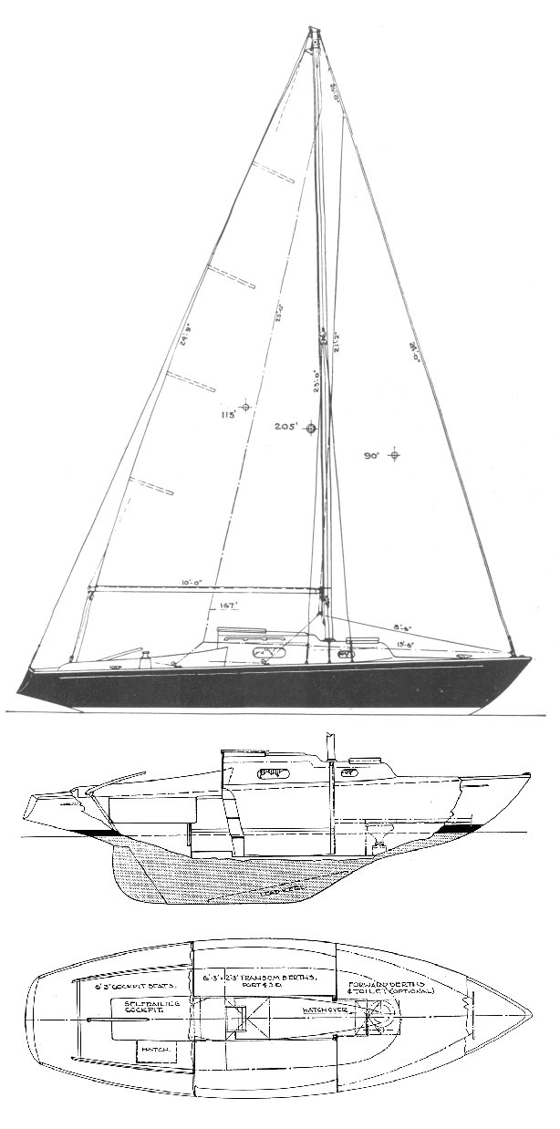 Electra 22 drawing on sailboatdata.com