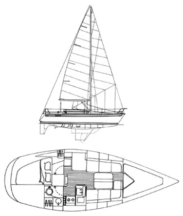 Elite 32 drawing on sailboatdata.com