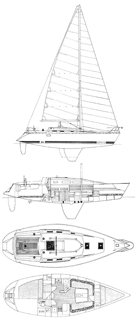 Elite 364 drawing on sailboatdata.com
