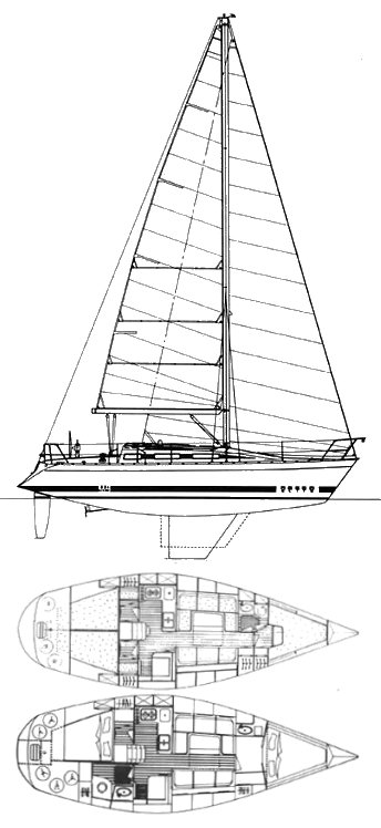 Elite 37 drawing on sailboatdata.com