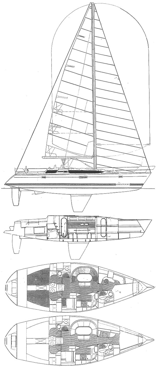 Elite 446 drawing on sailboatdata.com