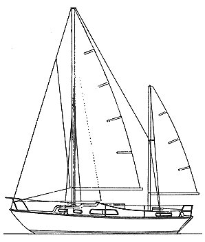 Elizabethan 31 Ketch drawing on sailboatdata.com