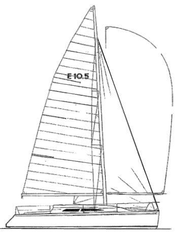 Elliott 10.5 drawing on sailboatdata.com