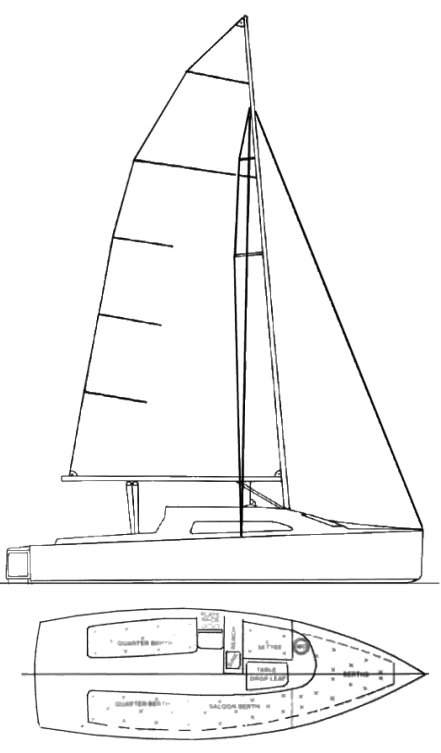 Elliott 7.4 drawing on sailboatdata.com