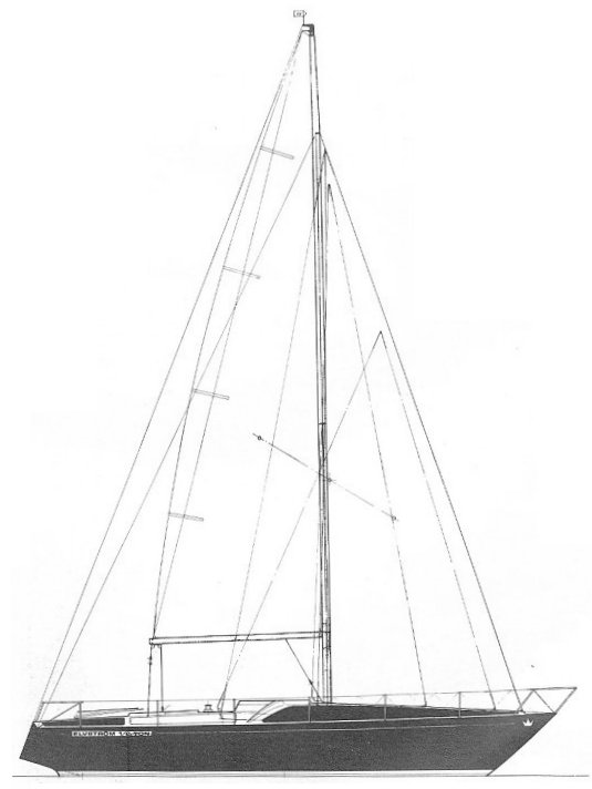 Elvstrom 1/2 ton ('Bes') drawing on sailboatdata.com