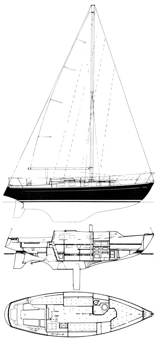 Endeavour 32 CB drawing on sailboatdata.com
